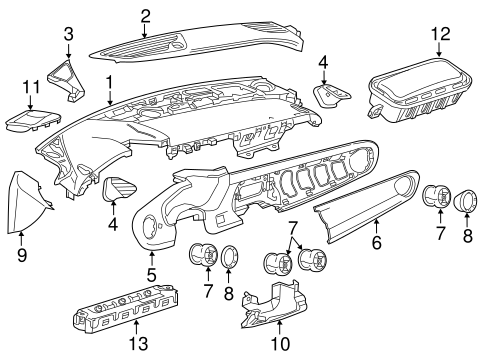 Instrument Panel Components for 2017 Chevrolet Camaro