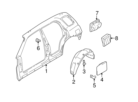 Quarter Panel & Components for 2003 Chevrolet Tracker