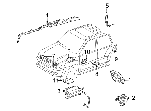 Genuine OEM Air Bag Components Parts for 2007 Toyota FJ