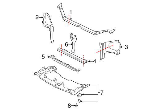RADIATOR SUPPORT for 2004 Subaru Impreza