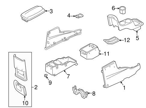 Genuine OEM Center Console Parts For 2001 Mazda Tribute LX