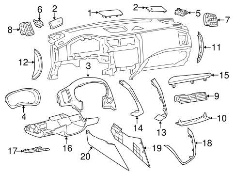 Instrument Panel Components for 2014 Nissan Altima