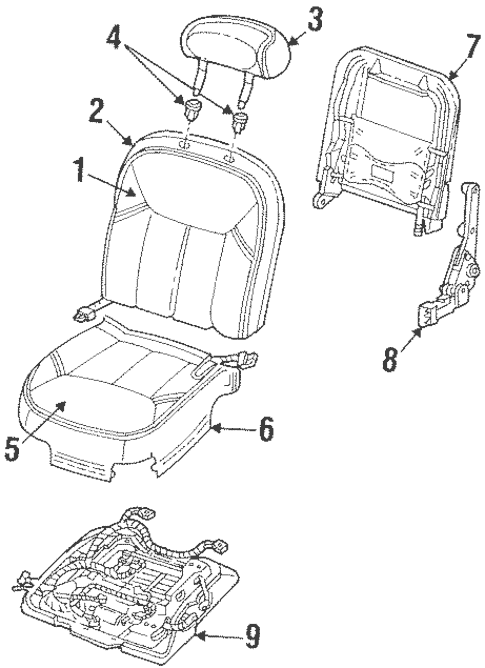 Front Seat Components for 1998 Lincoln Town Car