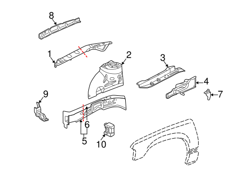 Structural Components & Rails Parts for 2002 Buick Park