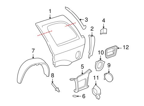 OEM 2007 Buick Rainier Quarter Panel & Components Parts