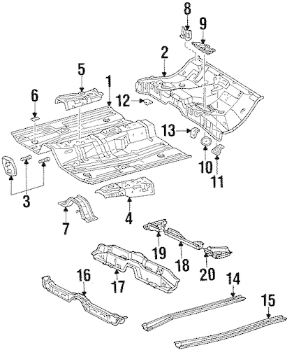 Genuine OEM Floor & Rails Parts for 1995 Toyota Corolla