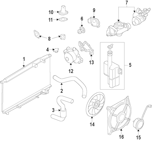 COOLING SYSTEM OEM Parts for 2011 Kia Sorento
