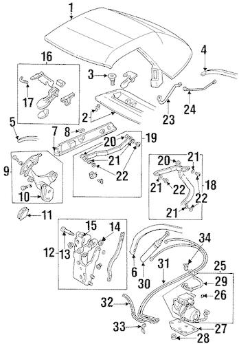 OEM 1995 Pontiac Firebird Convertible Top Parts