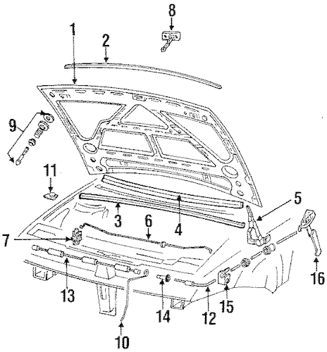 OEM VW HOOD & COMPONENTS for 1993 Volkswagen Corrado