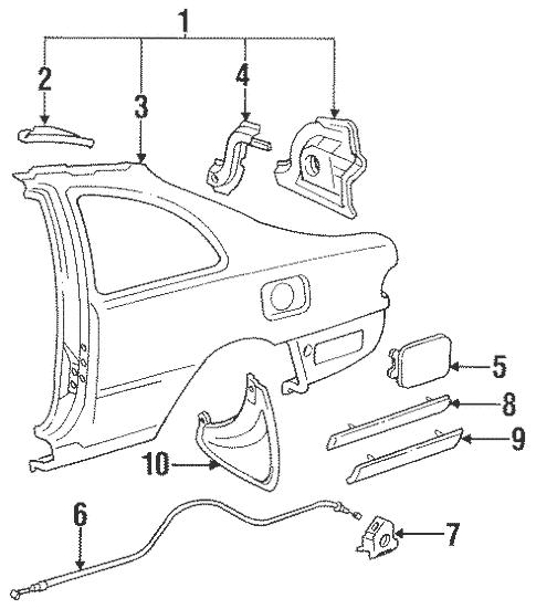 Genuine OEM Fuel Door Parts for 1996 Toyota Camry SE