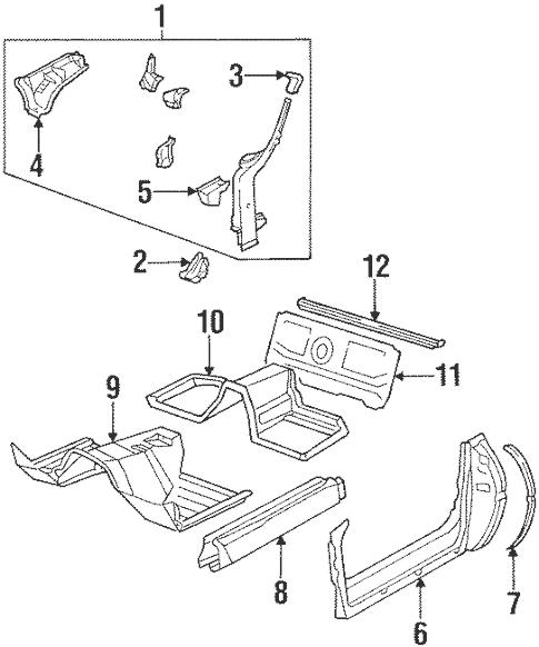OEM 1989 Chevrolet Corvette Floor & Rails Parts