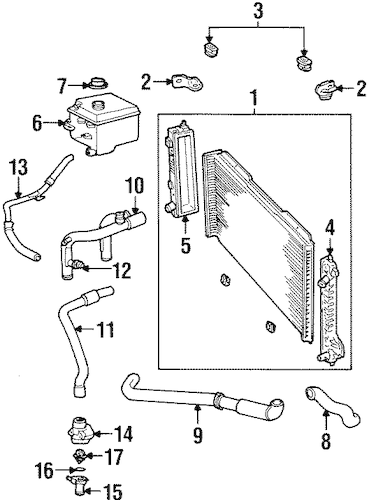 RADIATOR & COMPONENTS for 1998 Lincoln Continental