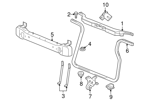 RADIATOR SUPPORT for 2008 Jeep Commander