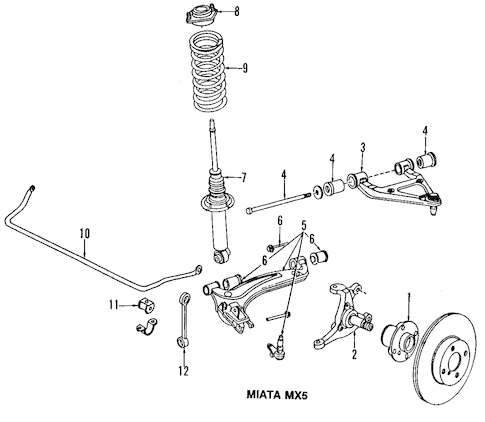 Genuine OEM Front Suspension Parts For 1992 Mazda Miata