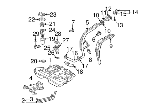 Fuel System Components for 2003 Pontiac Vibe (Base