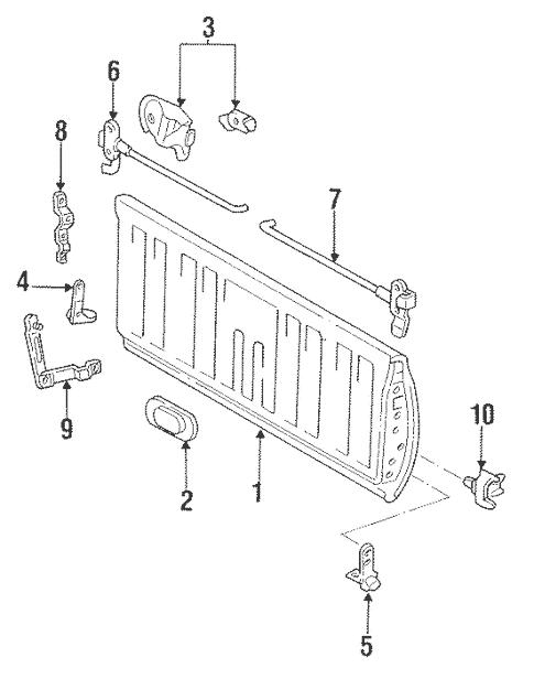 Genuine OEM Gate & Hardware Parts for 1996 Toyota T100 SR5