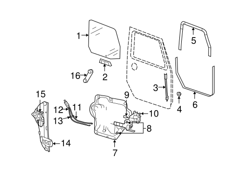 Jeep Body Front Door parts for a 2011 Jeep Wrangler