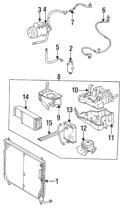 Condenser, Compressor & Lines for 1991 Mercedes-Benz 560