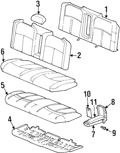 OEM REAR SEAT COMPONENTS for 1998 Oldsmobile Aurora