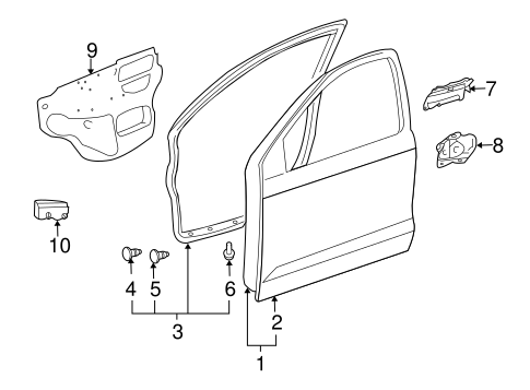 DOOR & COMPONENTS for 2004 Pontiac Vibe