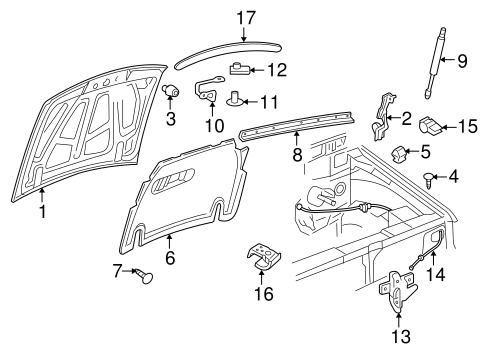 OEM 2008 Ford Explorer Sport Trac Hood & Components Parts