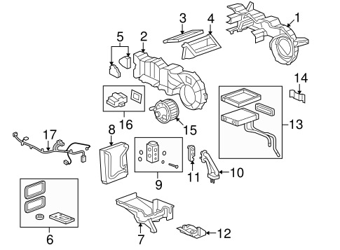 OEM 2008 Hummer H2 Evaporator & Heater Components Parts