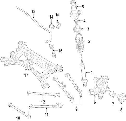 Genuine OEM Rear Suspension Parts For 2007 Mazda RX-8 Base