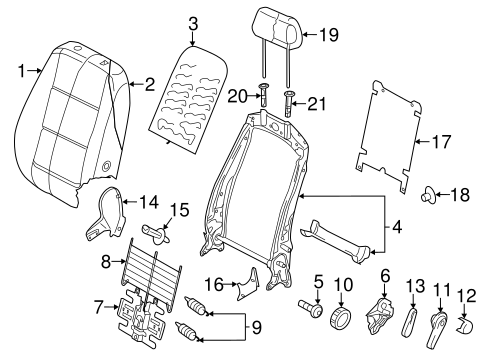 Genuine OEM Front Seat Components Parts For 2009