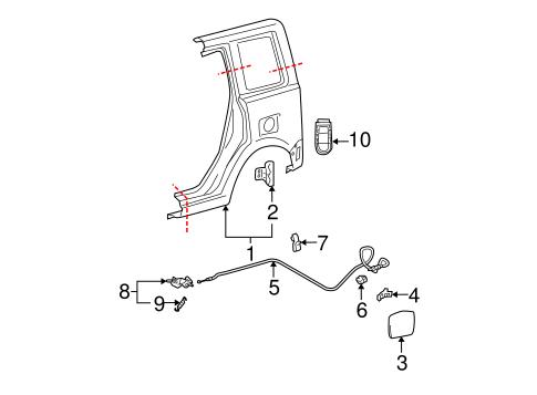Genuine OEM Fuel Door Parts for 2006 Scion xB Base