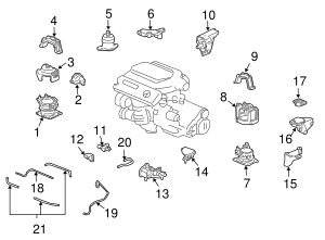 2007-2008 Acura TL SEDAN Rubber Assembly, Front Engine