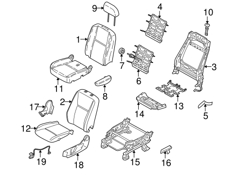 FRONT SEAT COMPONENTS for 2010 Ford Transit Connect