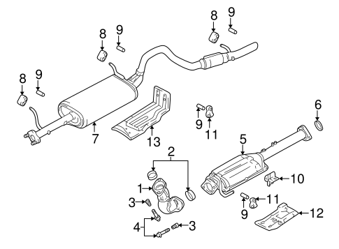 OEM 2000 Chevrolet Tracker Exhaust Components Parts