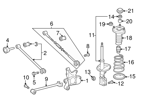 Genuine OEM Rear Suspension Parts for 2008 Toyota