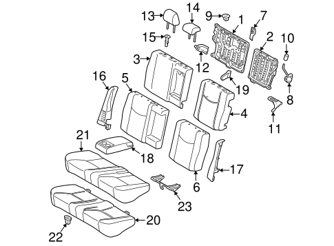 Genuine OEM REAR SEAT COMPONENTS Parts for 2010 Toyota
