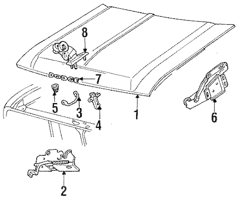 HOOD & COMPONENTS for 1990 Dodge D150