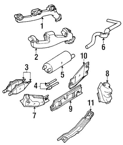 EXHAUST COMPONENTS for 1998 Dodge Ram 2500