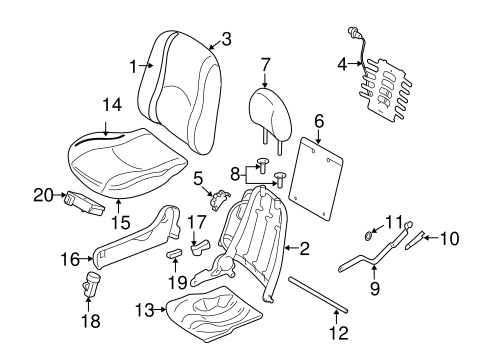 FRONT SEAT COMPONENTS for 2010 Mercury Mariner