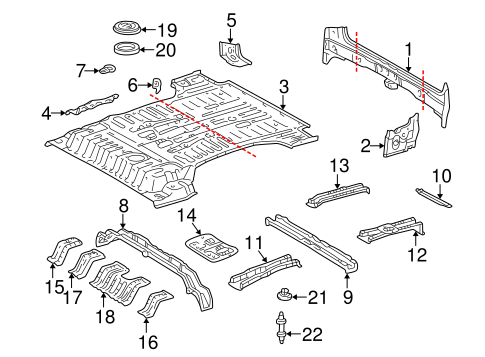 Genuine OEM Rear Floor & Rails Parts for 2001 Toyota Land
