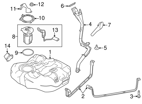 OEM 2012 Ford Focus Fuel System Components Parts
