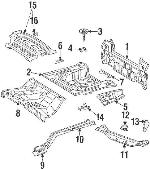 Genuine OEM Rear Body Parts for 1996 Toyota Corolla Base