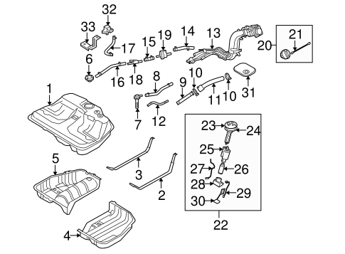FUEL SYSTEM COMPONENTS for 2005 Kia Amanti
