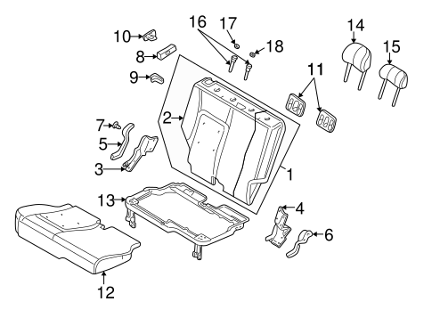 REAR SEAT COMPONENTS for 2005 Jeep Liberty