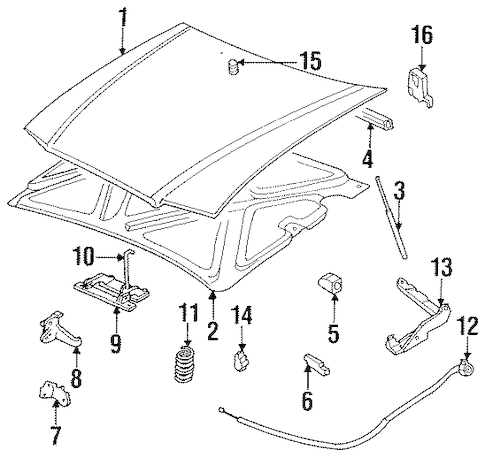OEM HOOD & COMPONENTS for 1995 Buick LeSabre
