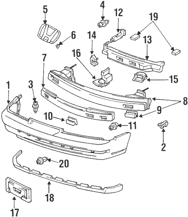 1992-1996 Honda PRELUDE COUPE Base Assembly, Front License