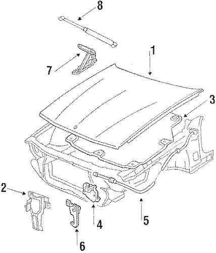 OEM 1991 Oldsmobile Toronado Hood & Components Parts