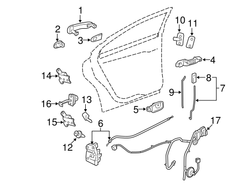 REAR DOOR Parts for 2007 Saturn Aura