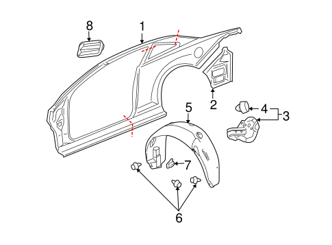 Quarter Panel & Components for 2007 Chevrolet Cobalt