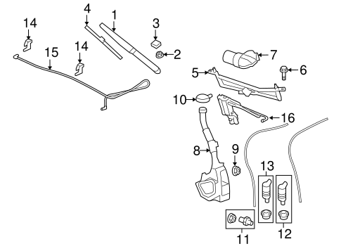 OEM WIPER & WASHER COMPONENTS for 2014 GMC Acadia