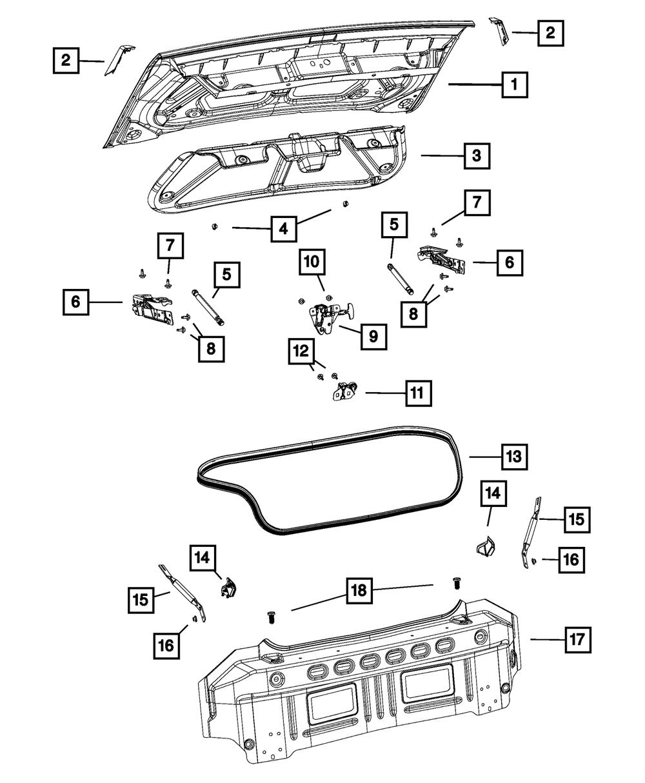 08-19 Dodge Challenger Rear Trunk Decklid Interior Trim