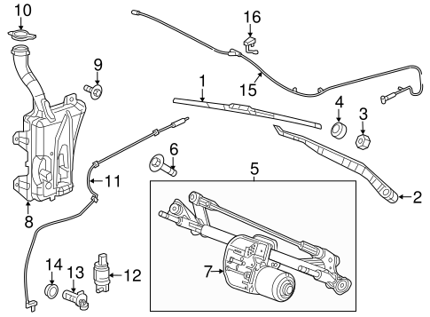 Wiper & Washer Components for 2015 Chrysler 200